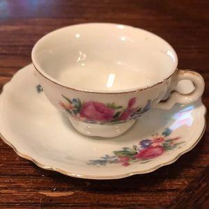 Demitasse floral teacup set marked Japan